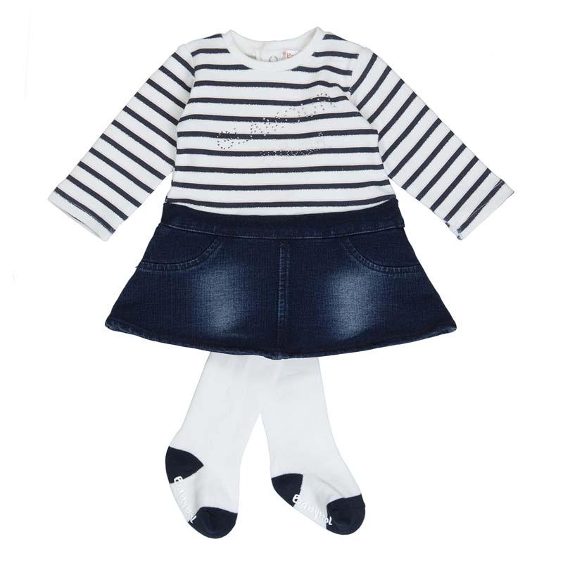 Бебешка раирана рокля Babybol с чорапогащник