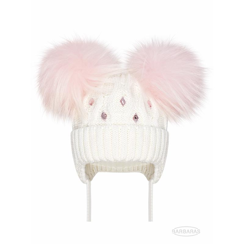Бебешка плетена шапка Barbaras за момиче с естествен помпон