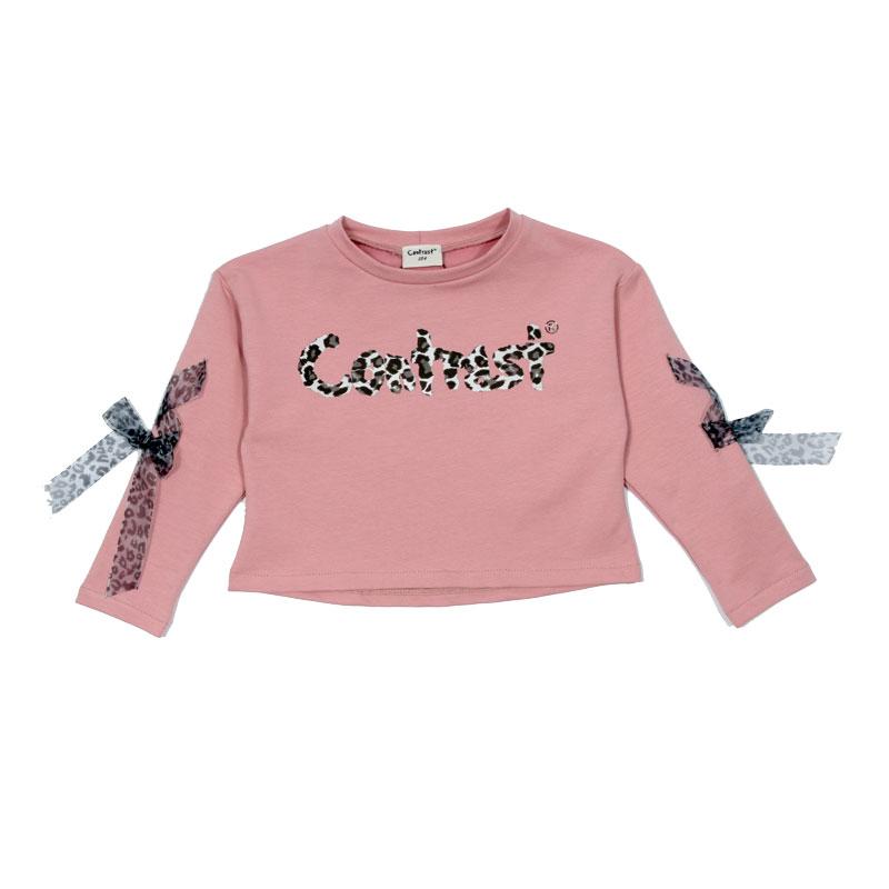 Детска блуза за момиче Contrast с къса кройка