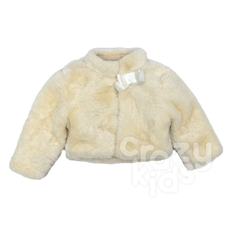 Детско пухкаво късо палто Contrast за момиче