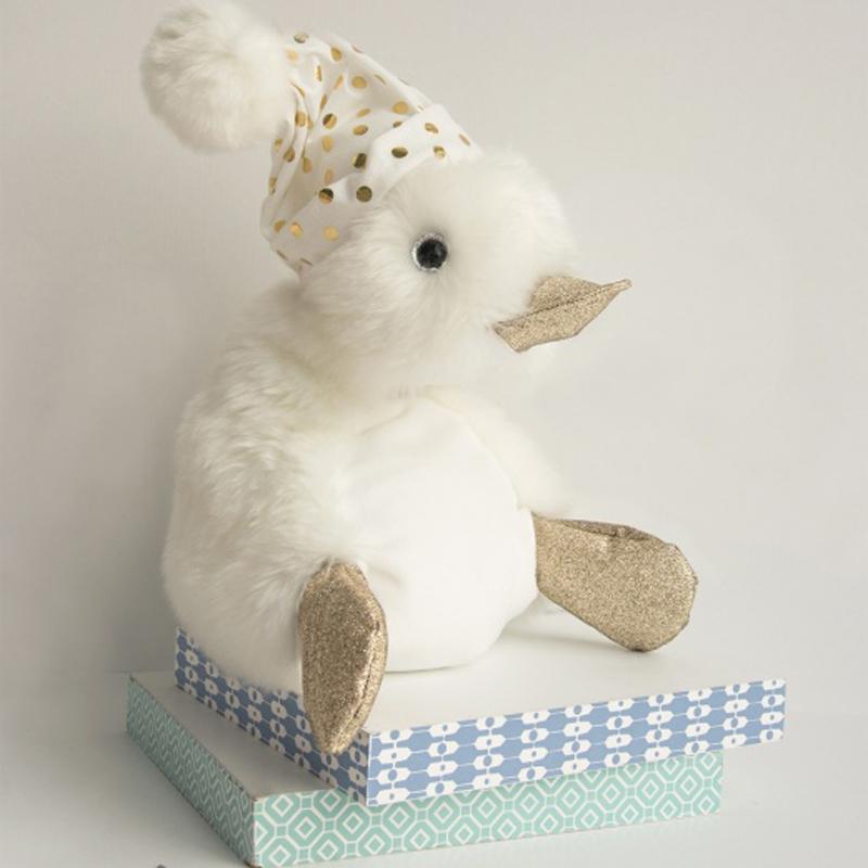 Детска пухкава играчка Doudou с шапка на точки