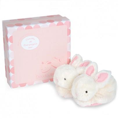 Doudou Бебешки меки пухкави пантофки зайчета с дрънкалка