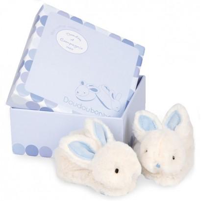 Doudou Бебешки пантофки зайчета с дрънкалка