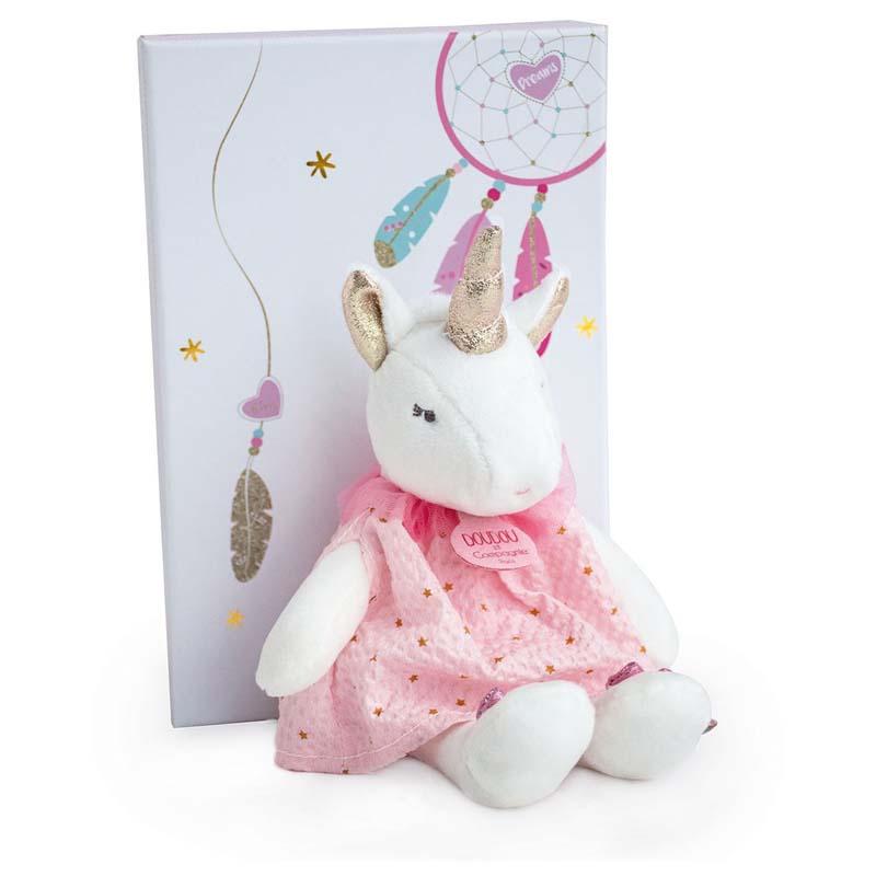 Бебешка играчка Doudou Еднорог с рокля