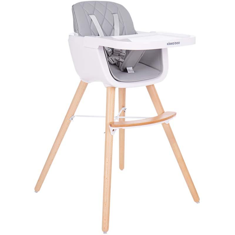 Kikkaboo Дървен стол за хранене Woody Grey