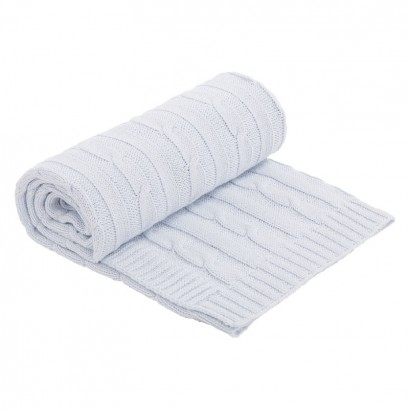 Kikkaboo Плетено памучно одеяло Light Blue