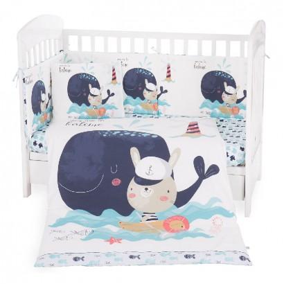 Kikkaboo Бебешки спален комплект 6 части 70 х 140 Happy Sailor