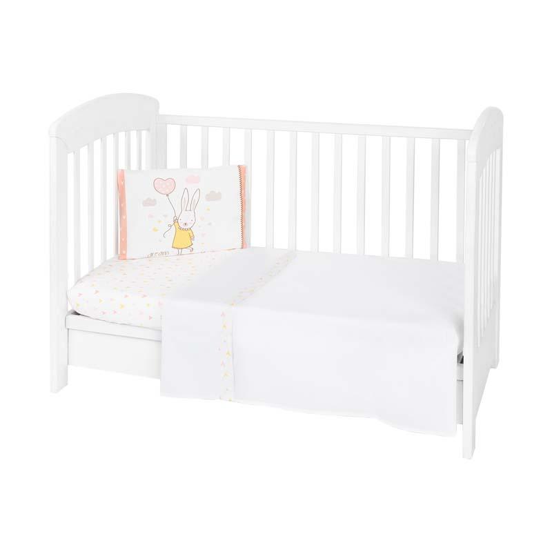Kikkaboo Бебешки спален комплект 3 части EU Style 70 х 140 Rabbits in Love